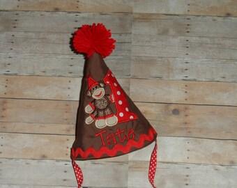 Infant Baby Toddler Boys Custom Applique Red Sock Monkey Birthday Party Hat