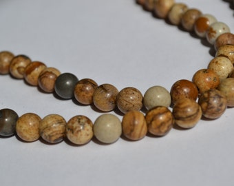 Picture Jasper, 8mm Round Jasper Beads, Destash