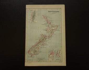 Original 1897 map of New Zealand - old antique English print Nieuw Zeeland inset Cook Strait Neuseeland nya Seeland nouvelle-Zélande 7x11''