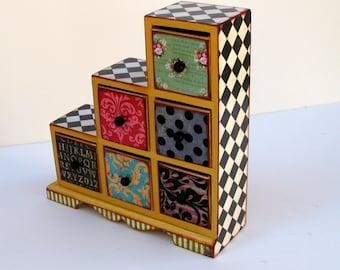 Wonderland Whimsy Six Drawer Asymmetrical Treasure Box, Trinket Box, Jewelry Box