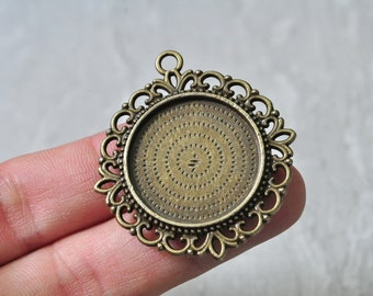 6pcs 25mm Pad Antique Bronze Double Sided Round Cameo Cabochon Base Setting PP851