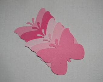 50 Large shades of pink Butterfly Die Cuts Scrapbooking Card Making Embellishments Weddings