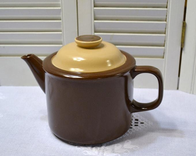 Vintage Teapot Brown Beige Stoneware Made in Japan Panchosporch