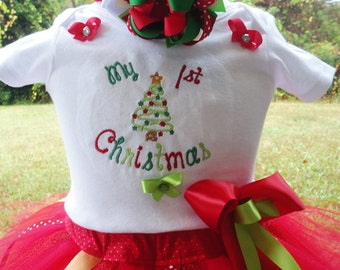 My First Christmas  Baby Girl Outfit, Baby Girls 1st Christmas Tutu Outfit, My 1st Christmas Baby Girls Dress