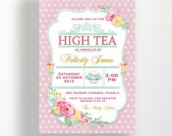 Kitchen Tea Invitation or High Tea Invitation Printable Pink Spots Dots Flowers Floral Shabby Watercolour Bridal or Tea Party