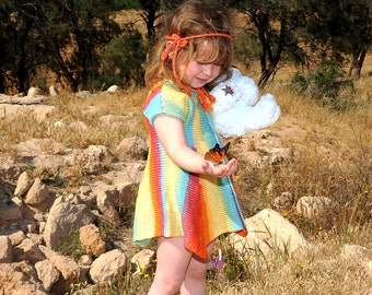 Free shipping hand made Knitted colorful   tunic for girls