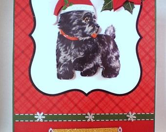 Scottie Christmas Card, Handmade,3D,Scottish