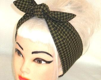 Avocado green Houndstooth Black Headband Pinup Vintage Retro Style 50s Rockabilly