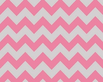 One Yard Medium Chevron - Tone on Tone in Hot Pink and Gray - Cotton Quilt Fabric - C380-10 - Riley Blake Designs (W2485)