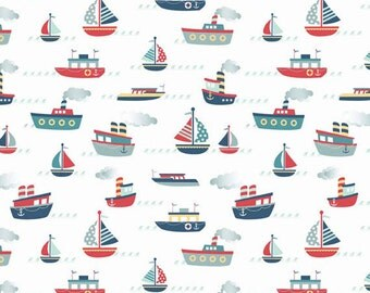 One Yard Fly Aweigh - Boats in White - Nautical Themed Cotton Quilt Fabric - C3871-WHITE - Samantha Walker for Riley Blake Designs (W2518)