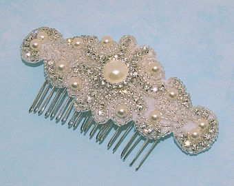 Rhinestone Pearl Bridal Comb, Wedding Hairpiece, Ivory Hair Accessory Fascinator