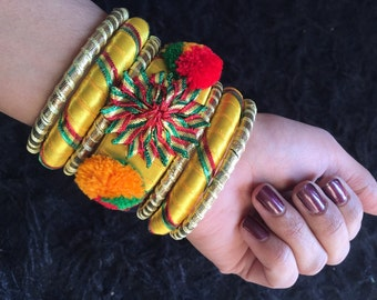 Yellow bangles Asian Bangles yellow bangles Modern indian bangles, bangles gifts xmas day, indian jewelry, Christmas gifts  by Sami