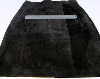 Black Suede Leather Cutter Skirt