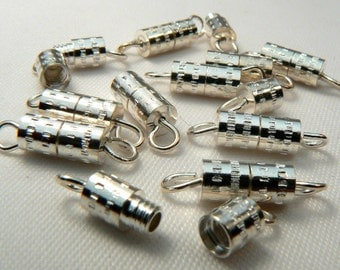 Silver Plated Barrel Clasps,12 Loose Clasps For Jewelry Making, Destash Jewelry Finding Supplies, Silver Jewelry Components, Destash (F66)