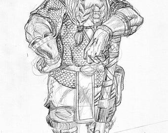 Original Drawing of Dwarf Character