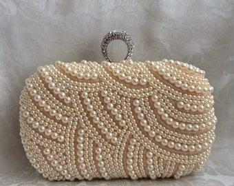 Pearl Clutch, Wedding Clutch, Bridal Clutch, Formal Party Clutch, Bridesmaid, Rhinestone Clutch