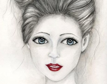 Gothic & Beauty - Elegant Woman - Watercolors - Artist Print - Digital