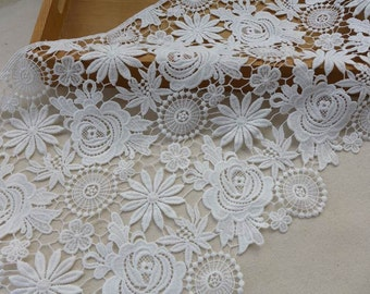 """off white lace fabric trim retro style crochet lace guipure lace trim 11"""" wide one yard"""
