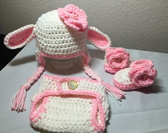 Crochet NB through 12 mos baby lamb sheep outfit photography props