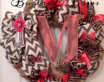 Chevron wreath, coral wreath, burlap wreath, monogram wreath, cross wreath