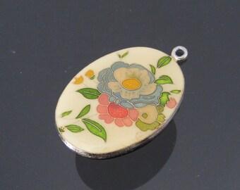 Vintage Jewelry Enamel Flower Pendant