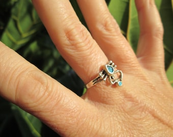 Sterling Spider with Turquoise Ring Size 8