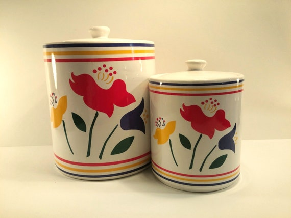 vintage kitchen canisters white ceramic with red yellow and red ceramic canister set 4pc kitchen counter storage jars