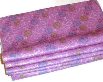 Printed felt sheet pink peace sign patterned fabric girls crafting