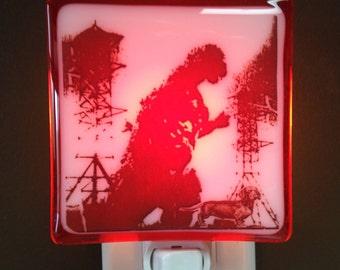 Fused Glass Night Light Godzilla