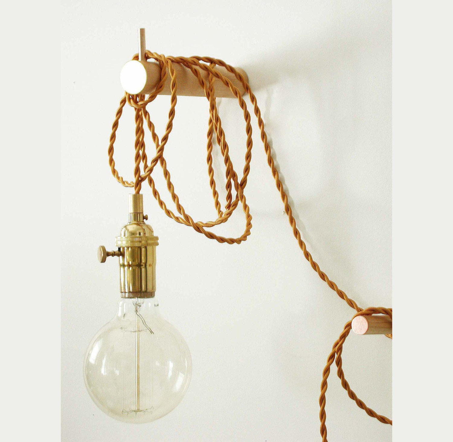 Wall Pendant Light: Pendant Light Brass Wall Lighting Edison Bulb Adjustable