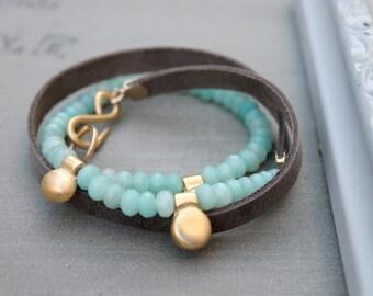 Amazonite bracelet, Amazonite wrap bracelet, leather and bead bracelet, unique beaded bracelets for women, amazonite beads bracelet
