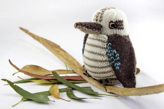 Knitted Bird Pattern : KNITTING PATTERN Toy Knitting Pattern Kookaburra Wildlife