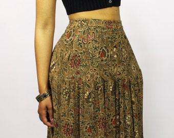 High Waisted Floral Midi Skirt - Vintage