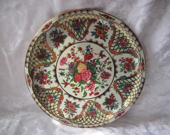 Round tin floral tray, pink, orange, blue flowers, Daher tray, made in England, English tray
