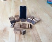 Rustic oak phone stand 3/8 slot compact size