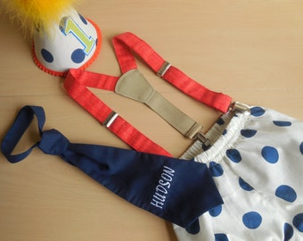 Baby Boy/ Toddler 4 Pcs Set /Party Hat- Diaper Cover-Neck Tie & Suspenders/in Antique White and Blue Polka Dot Print