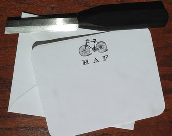 Best Personalized Fathers Day Gift Ideas: Monogrammed Bike Stationery for men - Set of 10+, Great Gift for Dads, top fathers day gifts