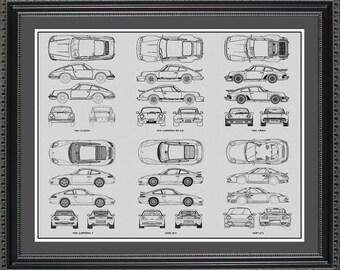 Porsche 911 Collection Drawing Art Car Auto Gift BP9112024