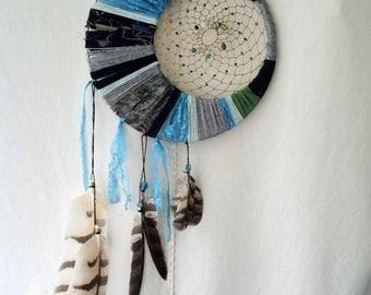 Luna dream catcher, hand made, custom, owl feathers.