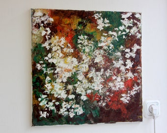 Original oil painting abstract white flowers 50 x  50 cm 20' x 20' inch landscape yellow red green palette knife impressionism