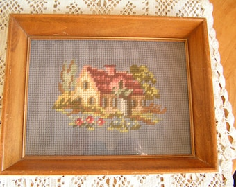 Vintage Cottage with Garden Needlepoint Picture in Wood Wooden Frame with Glass