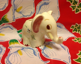 Vintage Block Pottery hand painted elephant planter