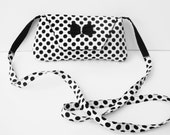 Black and White Polka Dot Cross Body bag made for iPhone 6 and 6+ Valentines gift  Black Smartphone Bag Black Cross Body bag Polka Sling Bag