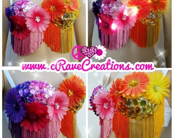 Bright Blossoms and Beautiful Bling with Fringe and Optional LEDs that Light Up! Custom Rave Bra Bling EDC Ultra