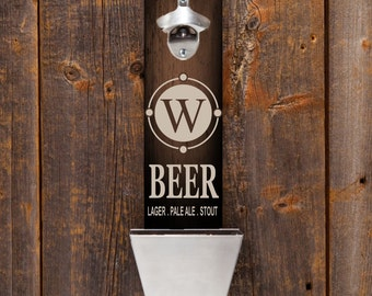 Wall mounted bottle opener - Personalized Bottle Opener Gifts for Him - Groomsmen Gifts - Wood Bottle Opener - Gifts for Dad - GC1225 BEER