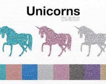 Glitter Unicorns Clip Art, Unicorns, graphic design elements-Instant Download
