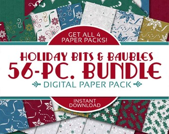 Holiday Bits & Baubles Digital Papers BUNDLE: Christmas Scrapbook Papers, Snowflakes, Ornaments, Holiday, Holly - Instant Download
