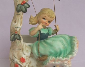 Vintage Girl on Swing Planter Figurine Green Dress Napco B5024