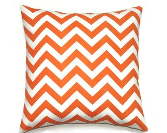Orange Pillows, 20x20 Pillow Cover, Decorative Pillows, Chevron Pillow, Designer Ikat Pillow, Cushion, Cover,  Zig Zag Tennessee Orange