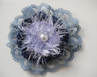 Green and Blue Crocheted Brooch (FREE postage in the UK)